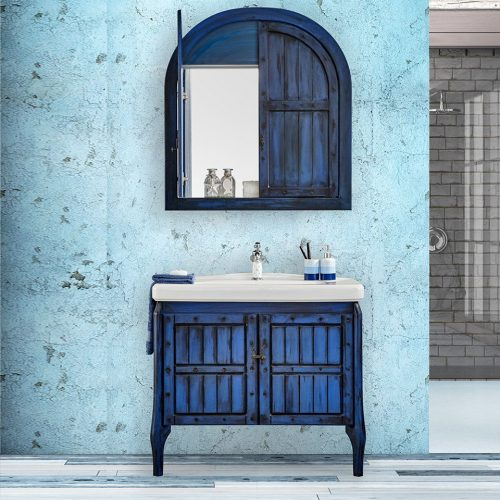 retro blue banyo dolabı