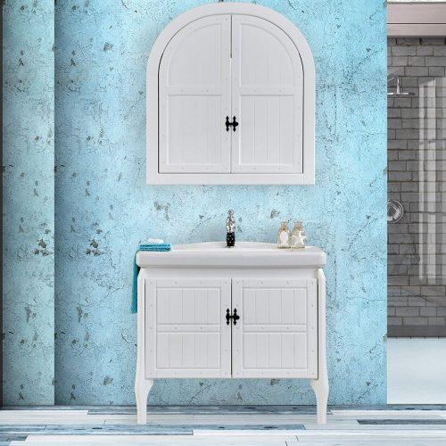 retro white banyo dolabı